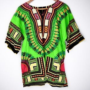 Other - Bright African Print Dashiki Top